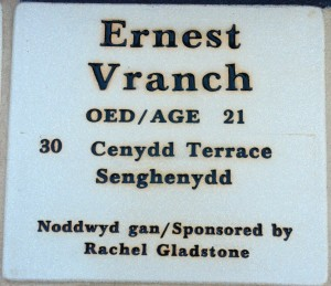 Plaque Ernest Vranch
