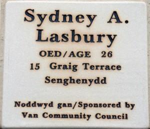 Plaque Sidney Lasbury